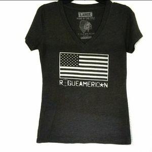 Rogue American Grey American Flag Tee